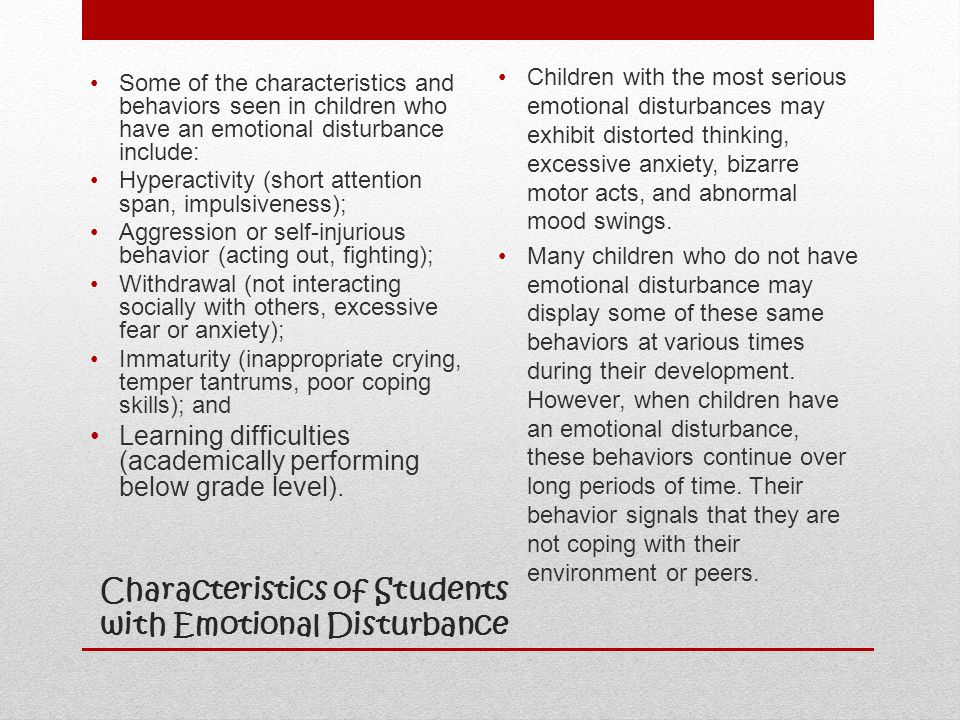 Characteristics of Students with Emotional Disturbance