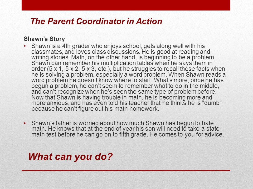 What can you do The Parent Coordinator in Action Shawn's Story