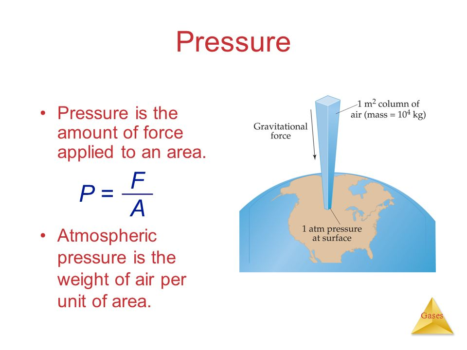 Pressure F P = A Pressure is the amount of force applied to an area.