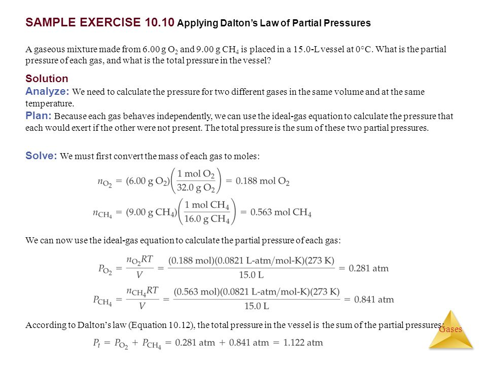 SAMPLE EXERCISE Applying Dalton's Law of Partial Pressures