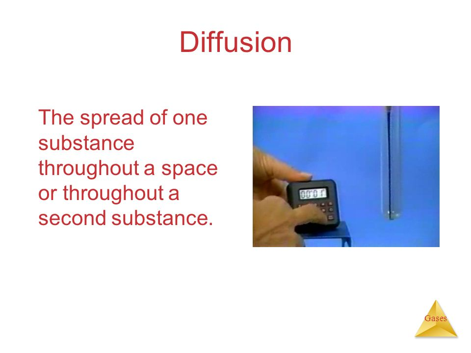 Diffusion The spread of one substance throughout a space or throughout a second substance.