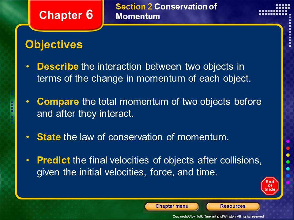 Section 2 Conservation of Momentum