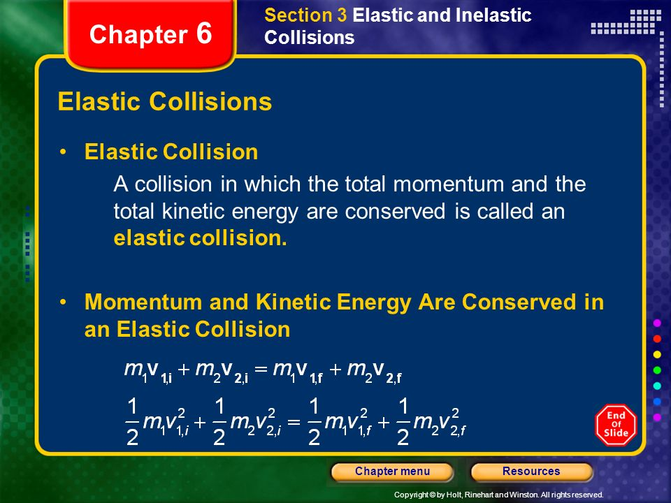 Chapter 6 Elastic Collisions Elastic Collision