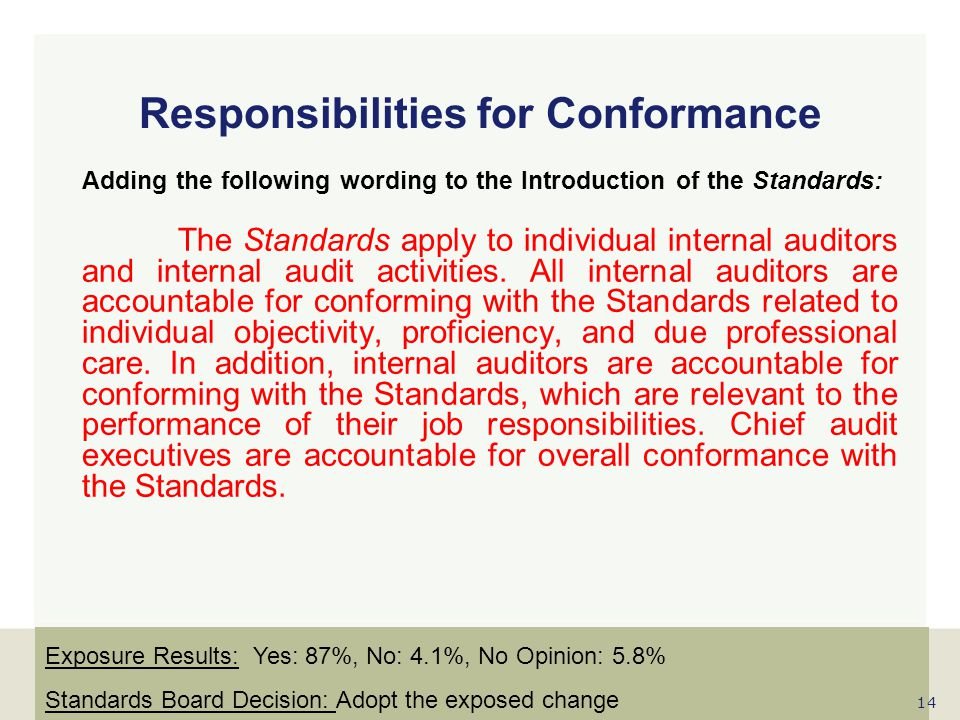 Responsibilities for Conformance
