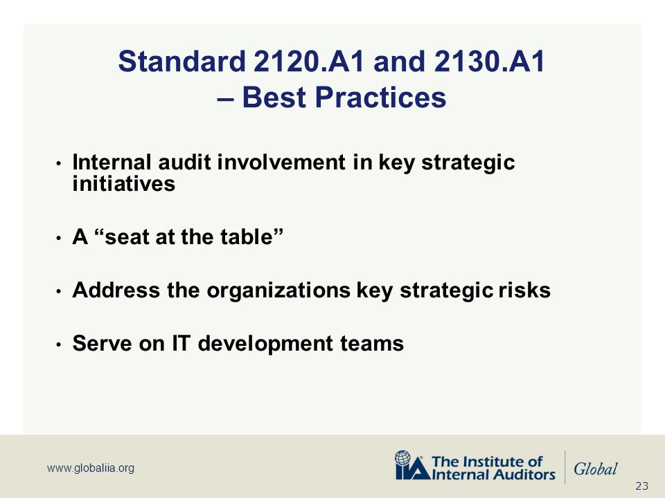Standard 2120.A1 and 2130.A1 – Best Practices