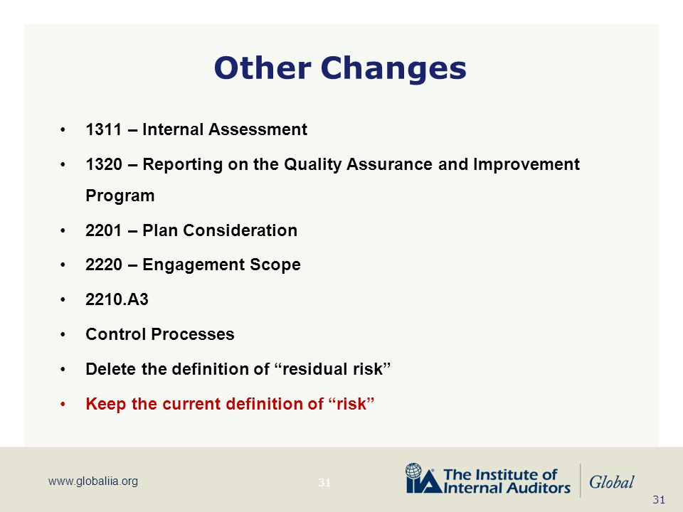 Other Changes 1311 – Internal Assessment