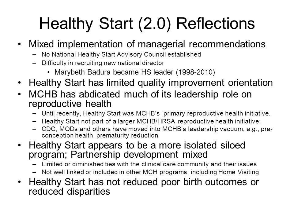 Healthy Start (2.0) Reflections