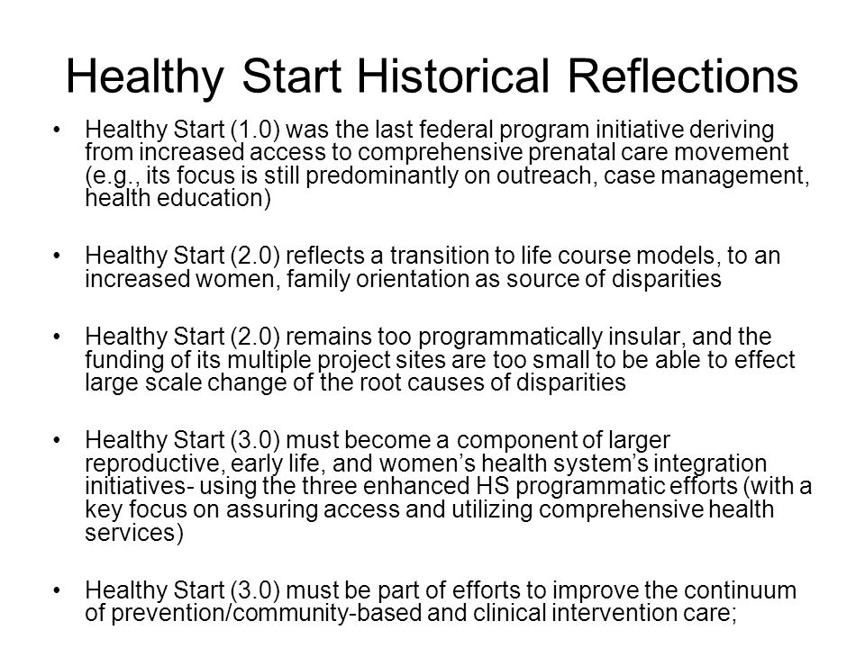 Healthy Start Historical Reflections