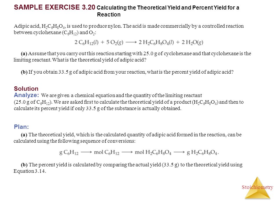 SAMPLE EXERCISE 3.20 Calculating the Theoretical Yield and Percent Yield for a Reaction