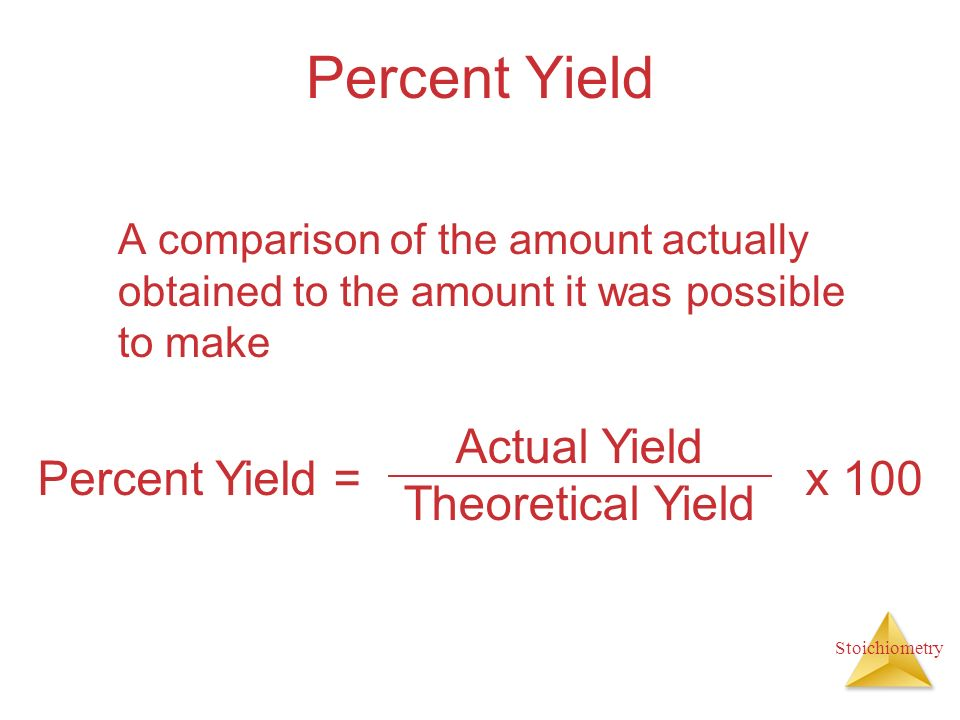 Percent Yield Actual Yield Theoretical Yield Percent Yield = x 100