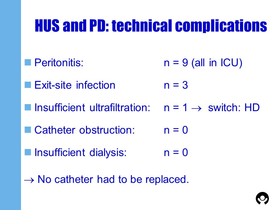 HUS and PD: technical complications