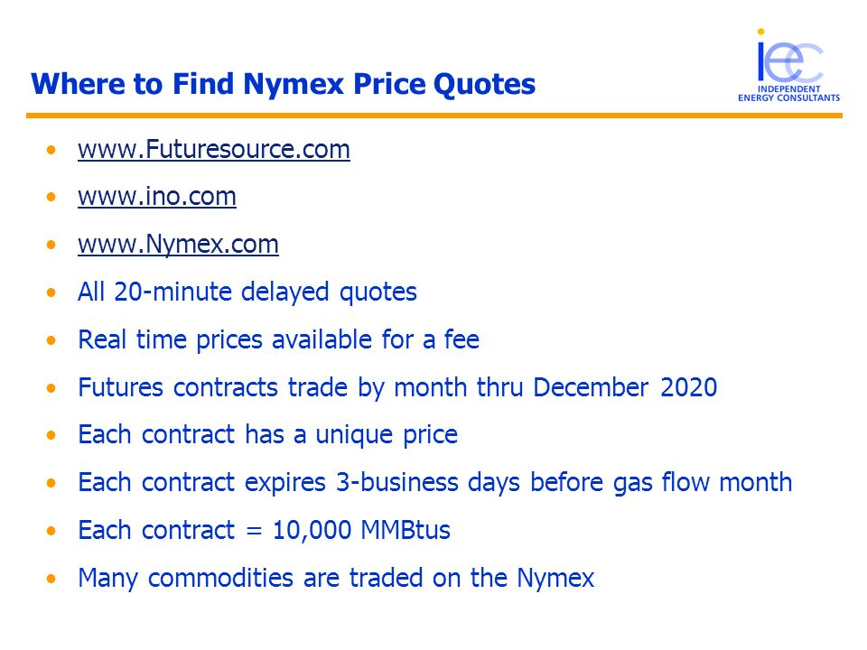 Where to Find Nymex Price Quotes
