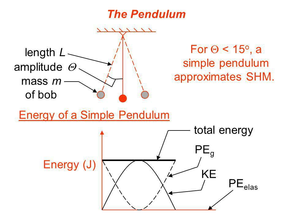 The Pendulum For Q < 15o, a. simple pendulum. approximates SHM. length L. amplitude Q. mass m.