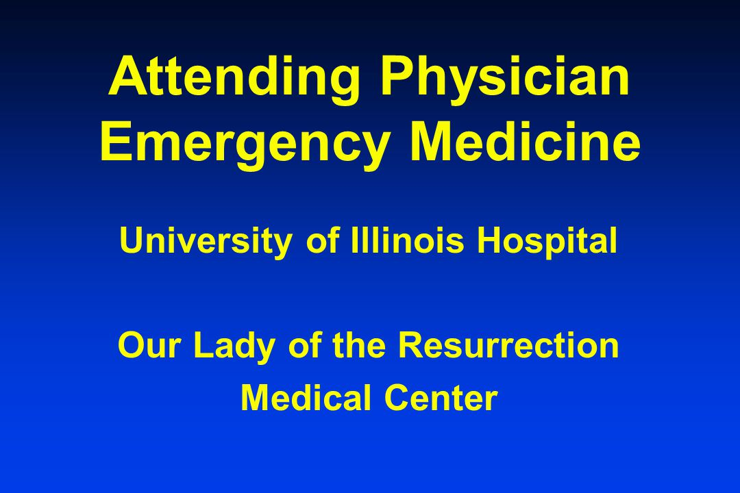 Attending Physician Emergency Medicine
