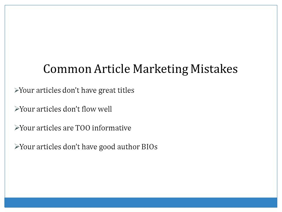 Common Article Marketing Mistakes