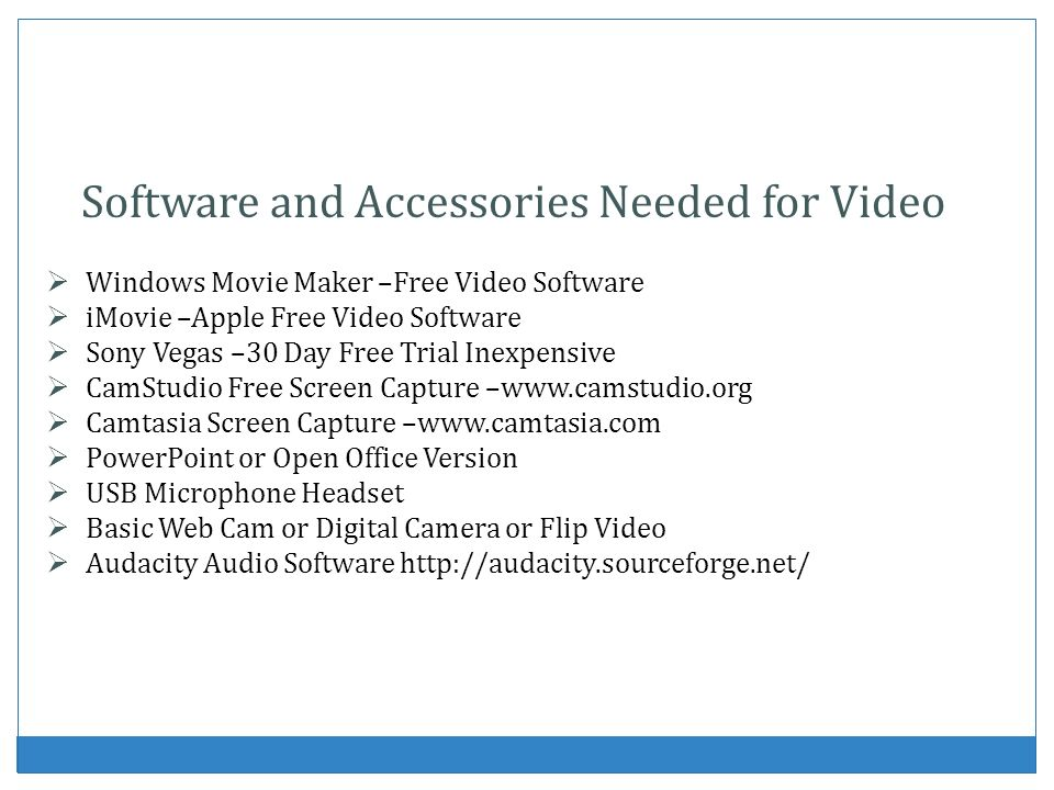 Software and Accessories Needed for Video