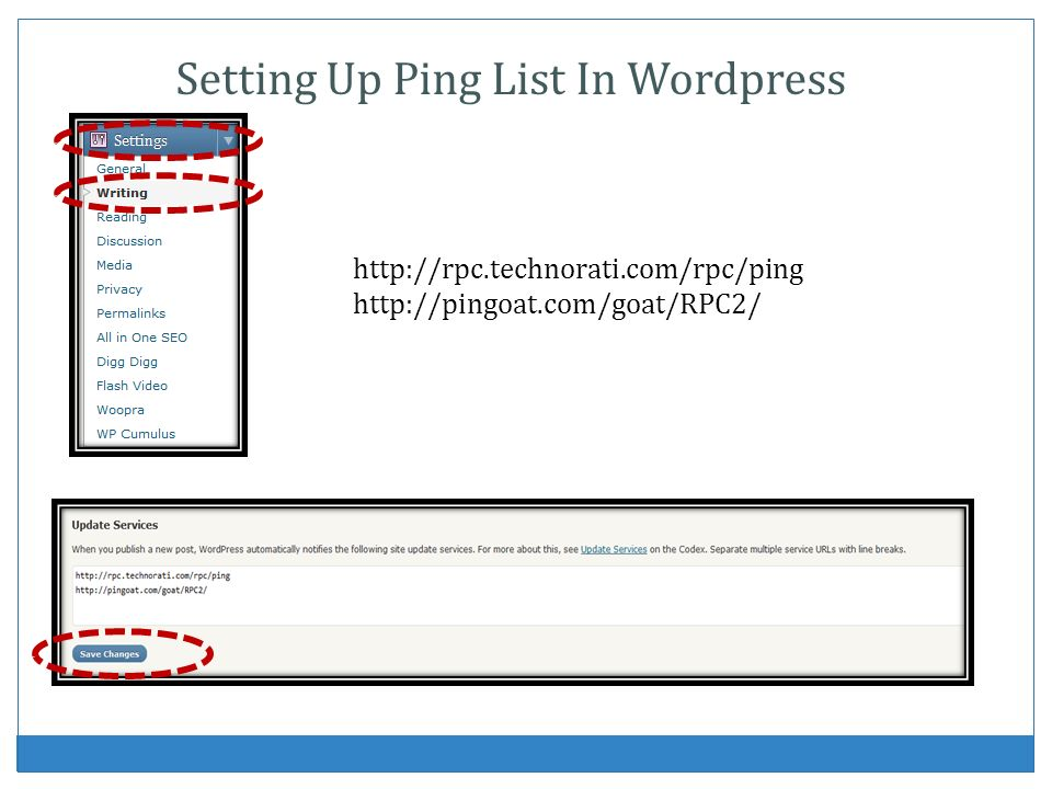 Setting Up Ping List In Wordpress
