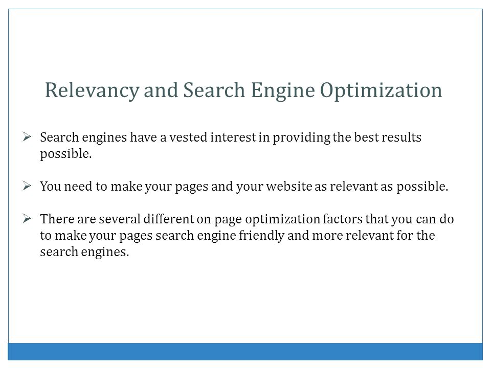 Relevancy and Search Engine Optimization