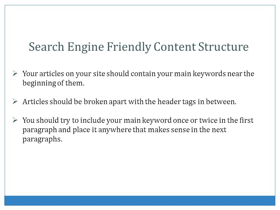 Search Engine Friendly Content Structure