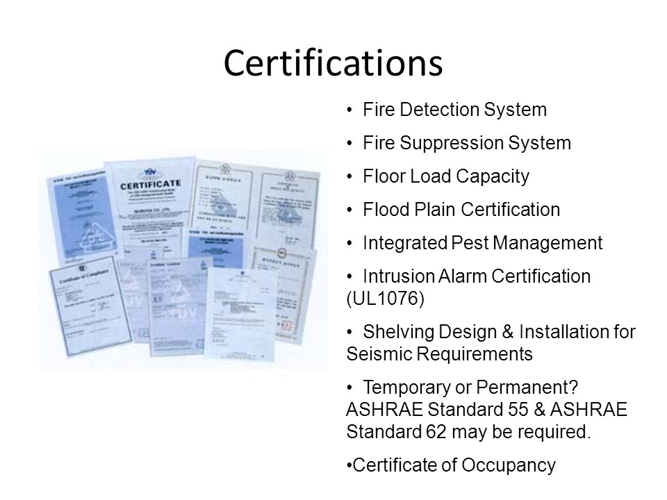 Certifications Fire Detection System Fire Suppression System