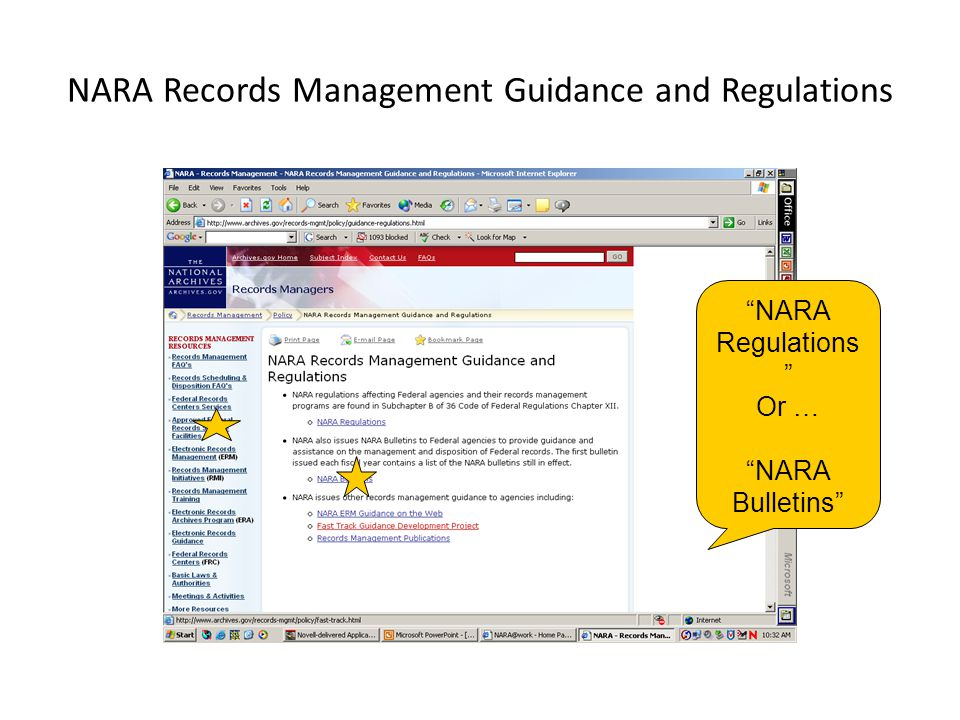 NARA Records Management Guidance and Regulations