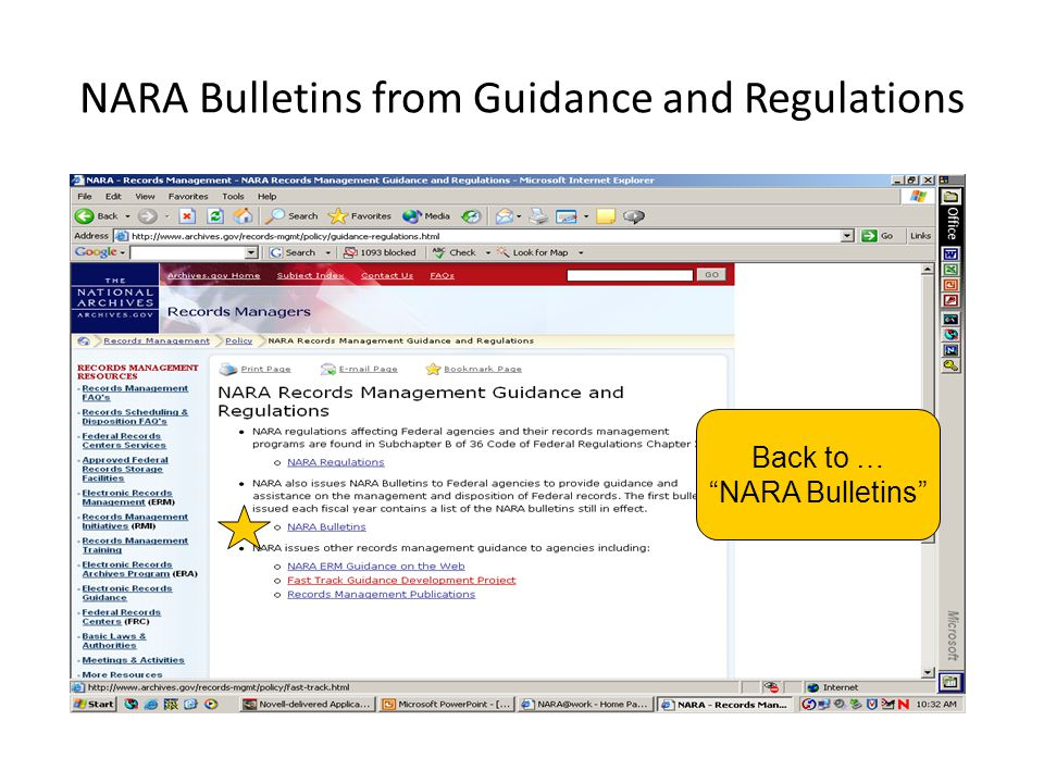 NARA Bulletins from Guidance and Regulations