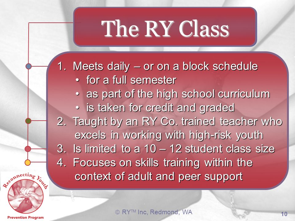 The RY Class 1. Meets daily – or on a block schedule