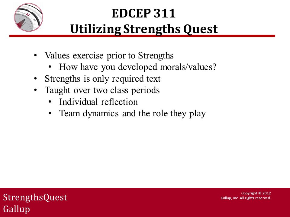 EDCEP 311 Utilizing Strengths Quest