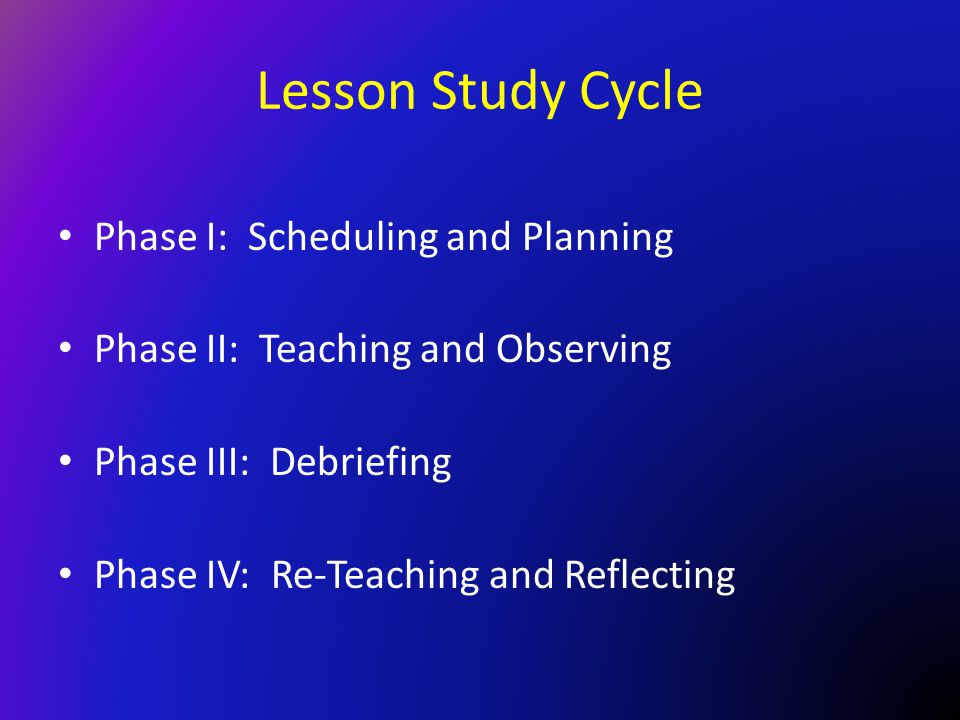 Lesson Study Cycle Phase I: Scheduling and Planning