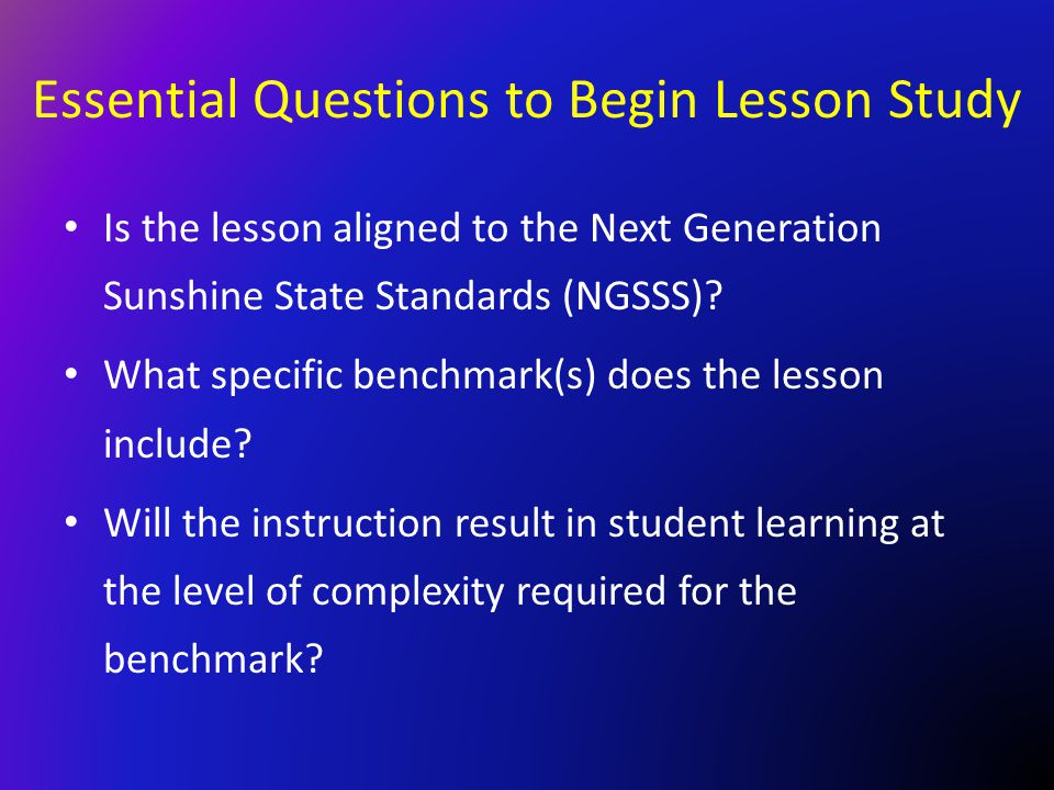 Essential Questions to Begin Lesson Study
