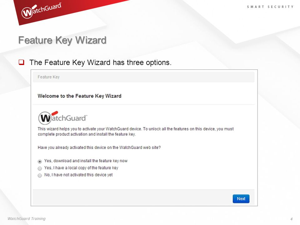 Feature Key Wizard The Feature Key Wizard has three options.