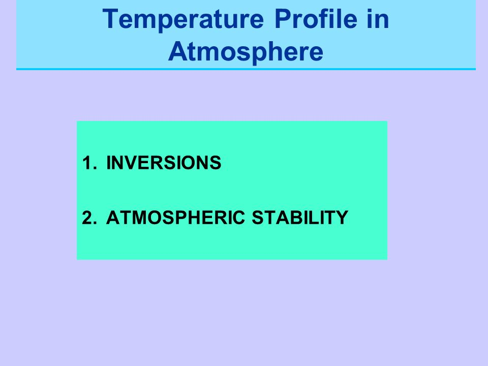 Temperature Profile in Atmosphere