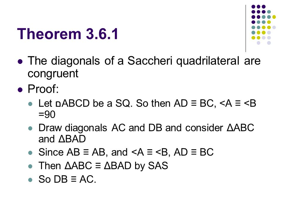 Theorem 3.6.1 The diagonals of a Saccheri quadrilateral are congruent