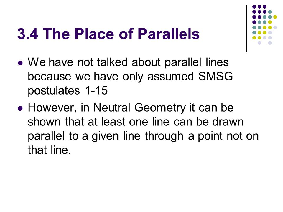 3.4 The Place of Parallels We have not talked about parallel lines because we have only assumed SMSG postulates 1-15.