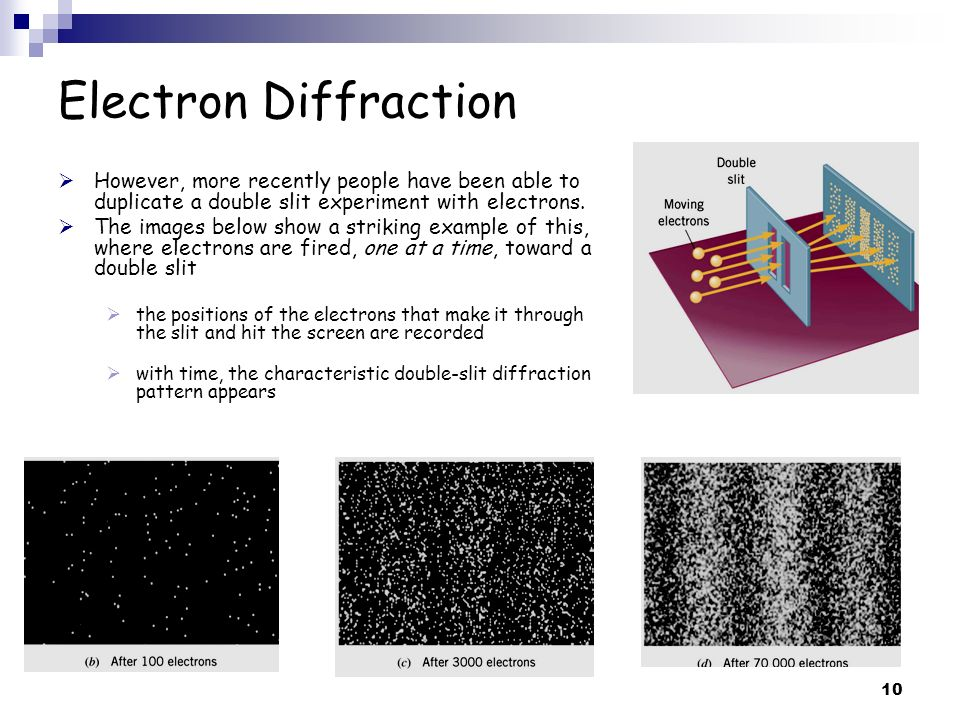 Electron Diffraction However, more recently people have been able to duplicate a double slit experiment with electrons.