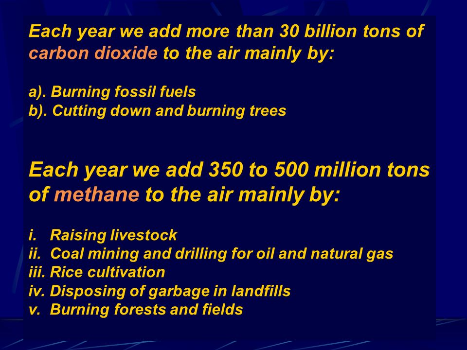 Each year we add more than 30 billion tons of carbon dioxide to the air mainly by: a).