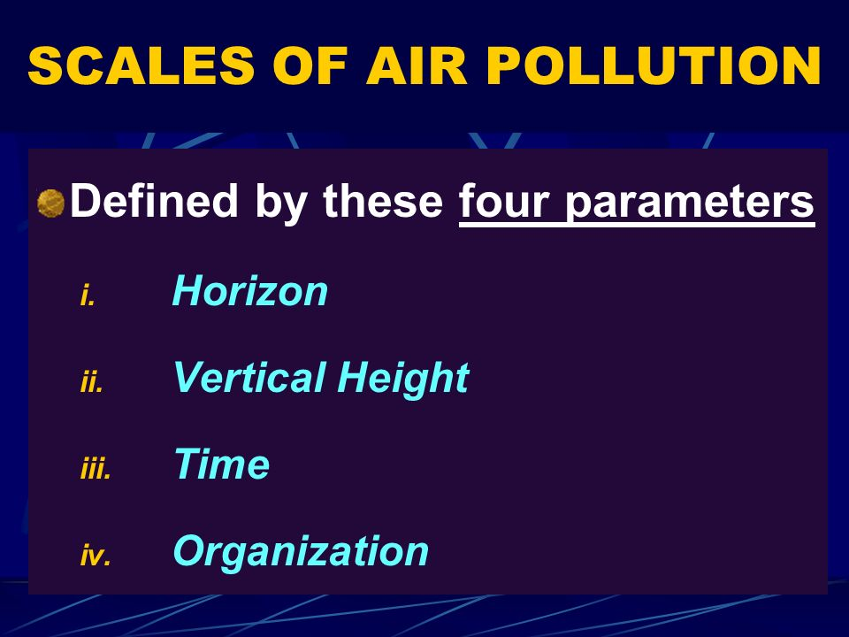 SCALES OF AIR POLLUTION