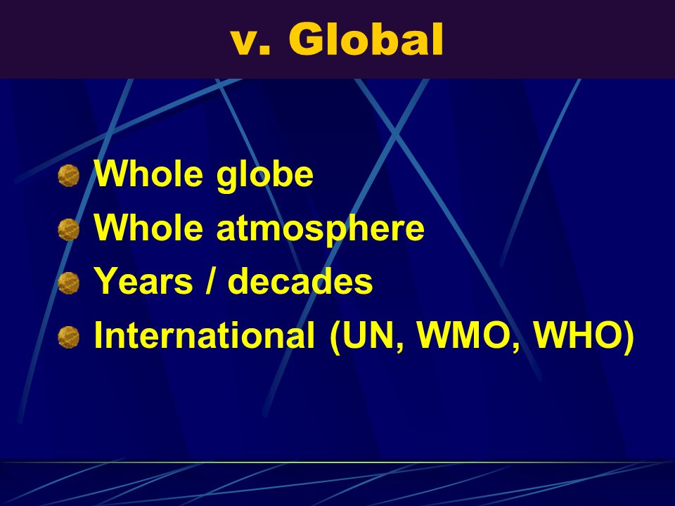 v. Global Whole globe Whole atmosphere Years / decades