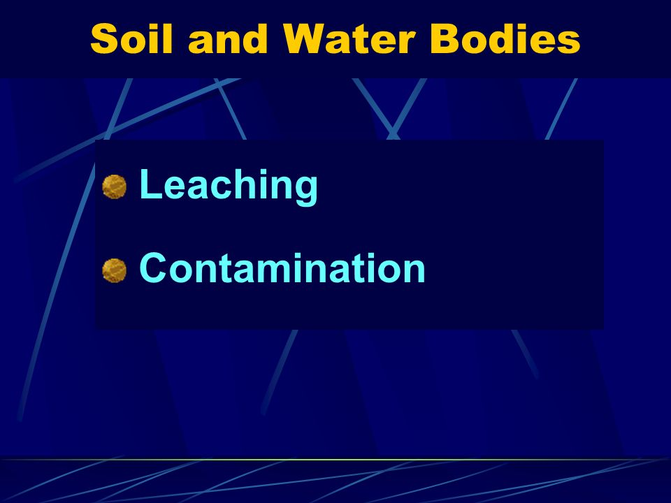 Soil and Water Bodies Leaching Contamination