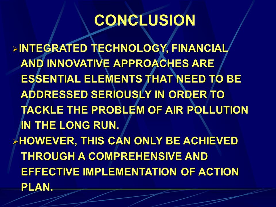 CONCLUSION INTEGRATED TECHNOLOGY, FINANCIAL