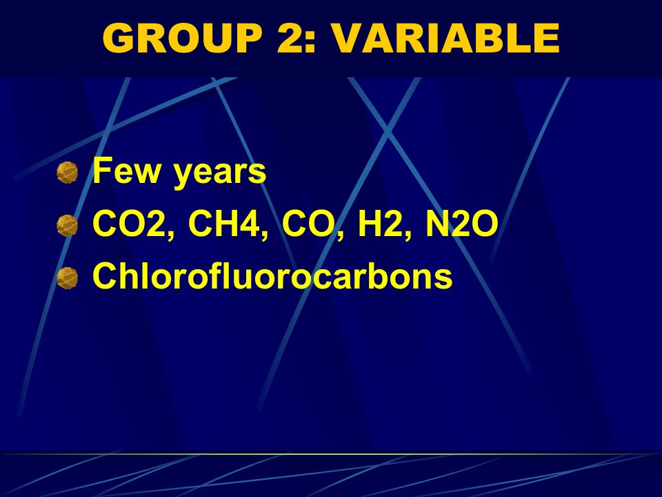 GROUP 2: VARIABLE Few years CO2, CH4, CO, H2, N2O Chlorofluorocarbons