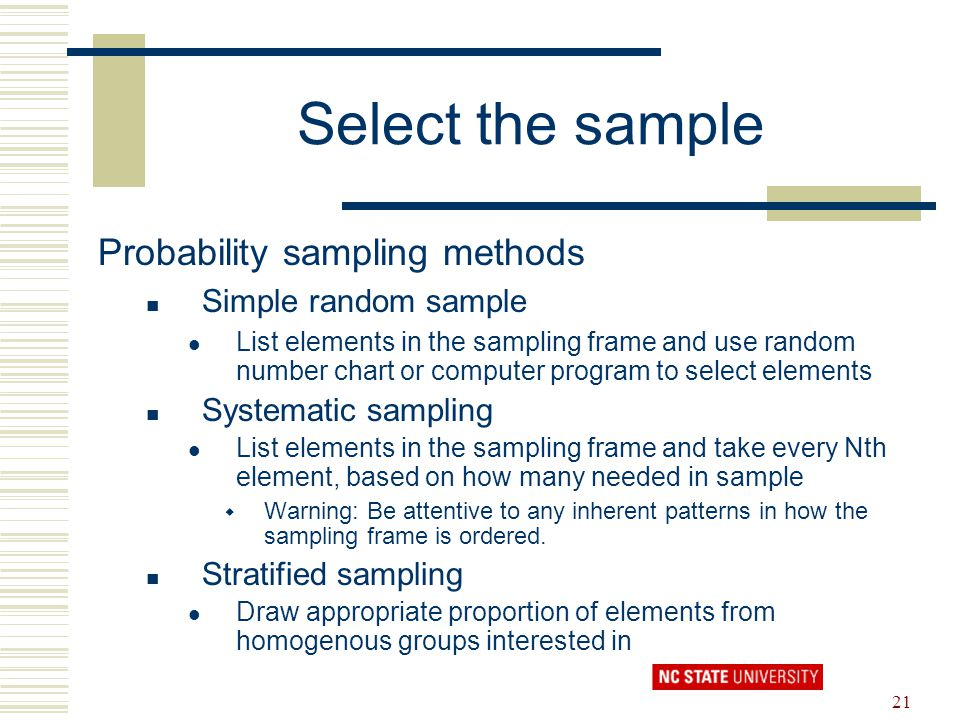 Select the sample Probability sampling methods Simple random sample