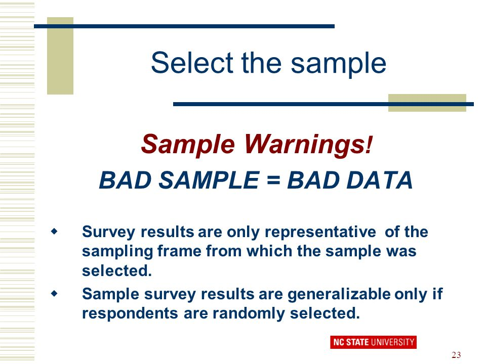 Select the sample Sample Warnings! BAD SAMPLE = BAD DATA