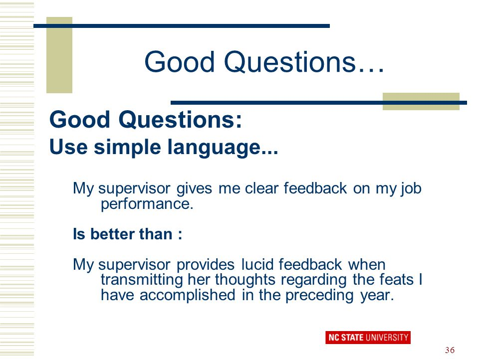 Good Questions… Good Questions: Use simple language...