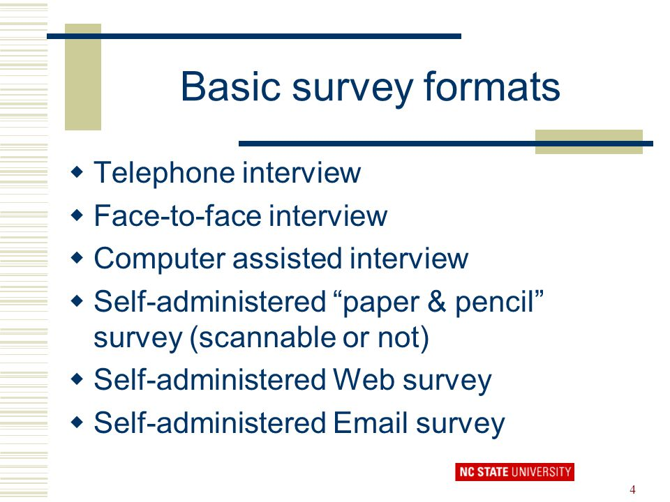 Basic survey formats Telephone interview Face-to-face interview
