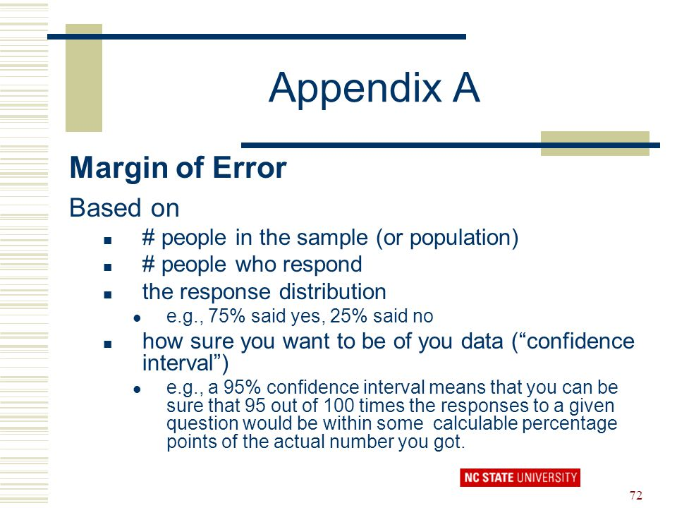 Appendix A Margin of Error Based on