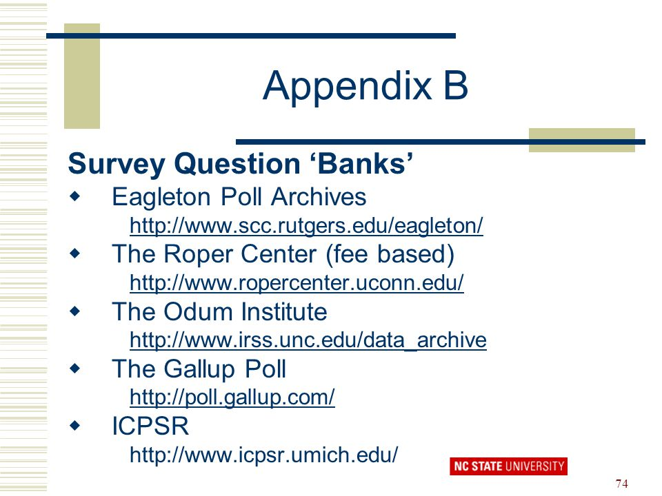 Appendix B Survey Question 'Banks' Eagleton Poll Archives