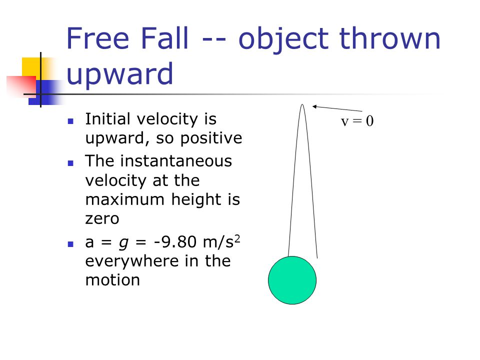 Free Fall -- object thrown upward