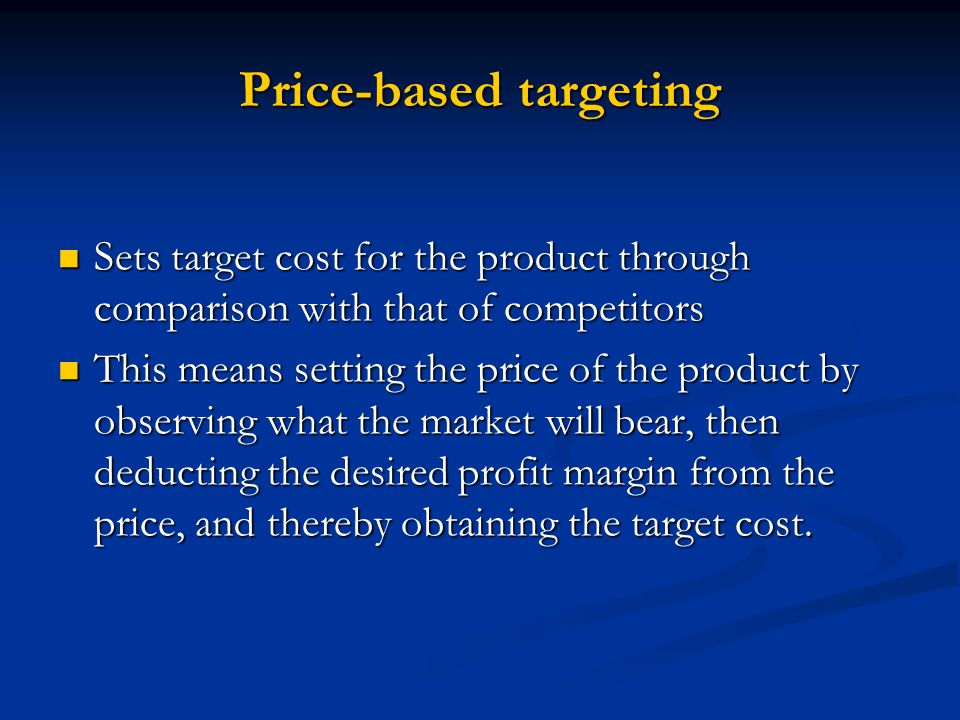 Price-based targeting