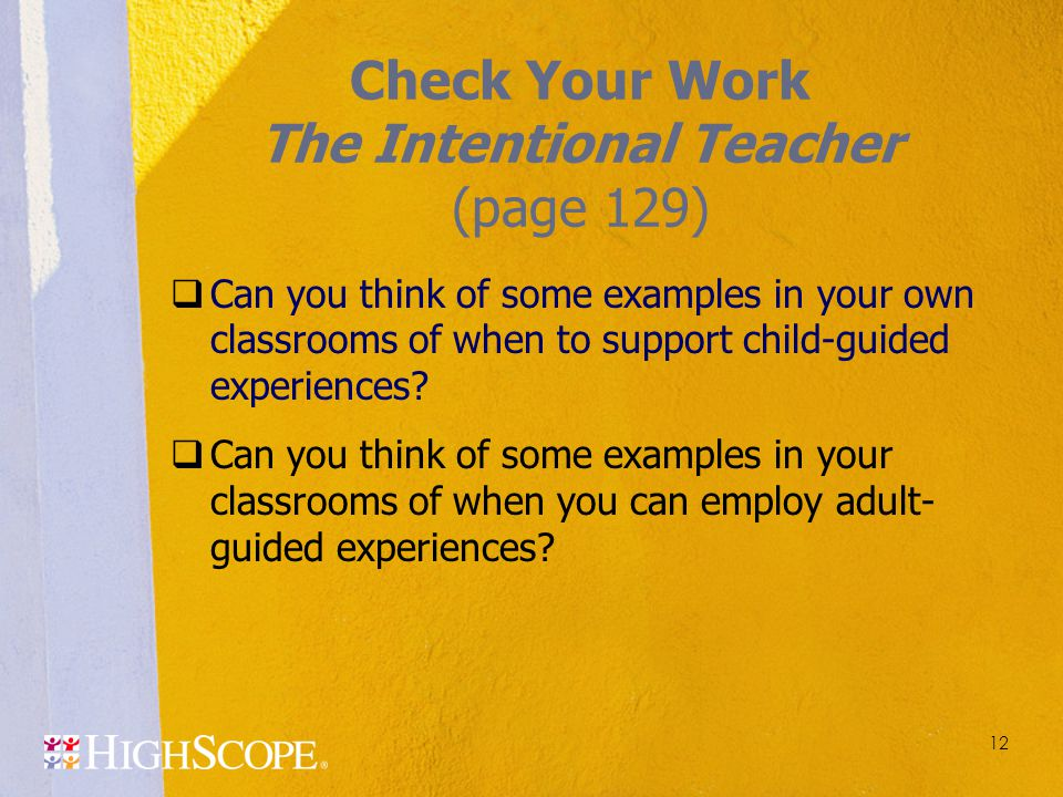 Check Your Work The Intentional Teacher (page 129)